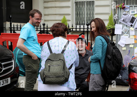 London / UK – June 22, 2019: Richard Ratcliffe (seated) talks to supporters at the Iranian embassy in London on day 8 of a hunger strike in support of his wife Nazanin Zaghari-Ratcliffe, jailed in Iran - Stock Photo