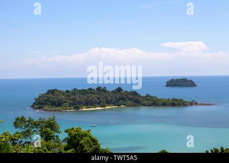View of Koh Man Nai island from Thailand, Koh Chang island. - Stock Photo