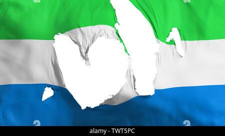 Ragged Sierra Leone flag - Stock Photo