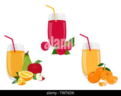 Berry and fruit smoothie, healthy juicy vitamin drink diet or vegan food concept, fresh vitamins. Vector illustration - Stock Photo