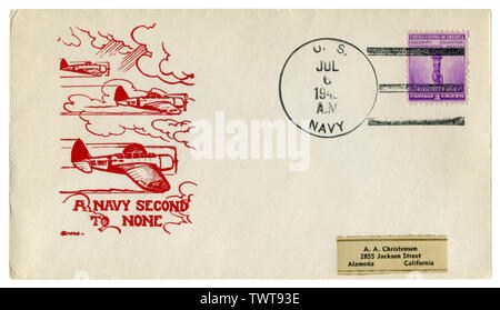 The USA - 6 July 1942: US historical envelope: cover with a cachet A navy second to none, military aircraft in the clouds, for defense postage stamp - Stock Photo