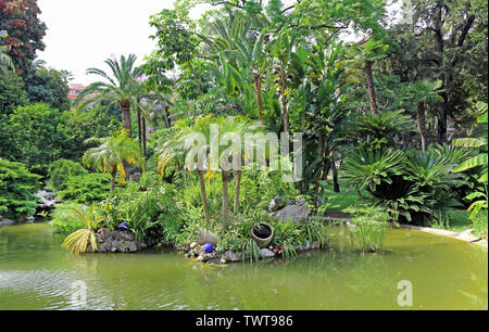 Monte-Carlo, Monaco – June 13, 2014: lake in the gardens of little Africa near the casino and the opera house - Stock Photo