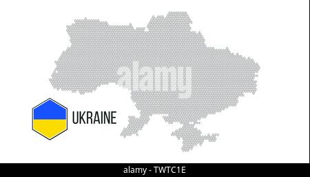 Ukraine country map made from abstract hexagon pattern, Vector illustration isolated on white - Stock Photo