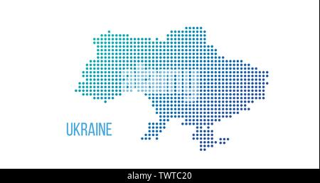 Ukraine country map made from abstract halftone dot pattern, Vector illustration isolated on white - Stock Photo