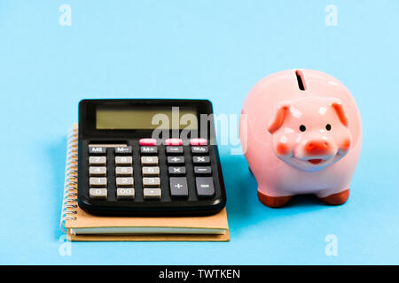 saving money. First salary. bookkeeping. financial report. family budget management. business start up. piggy bank with calculator. Moneybox. Poor life. - Stock Photo
