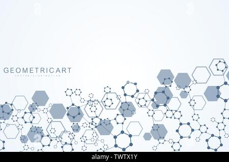 Modern futuristic background of the scientific hexagonal pattern. Virtual abstract background with particle, molecule structure for medical - Stock Photo