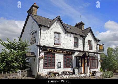 Fairy Falls Public House in Trefriw, Conwy, Wales - Stock Photo