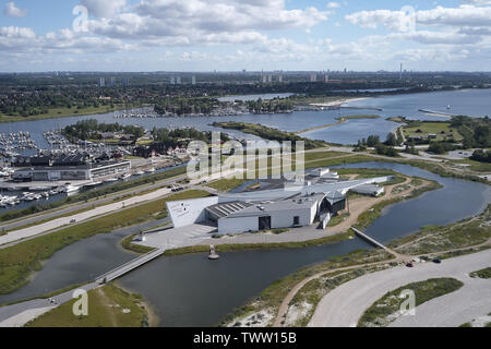 Aerial view of Arken Museum of Modern Art located on Zealand in Denmark - Stock Photo