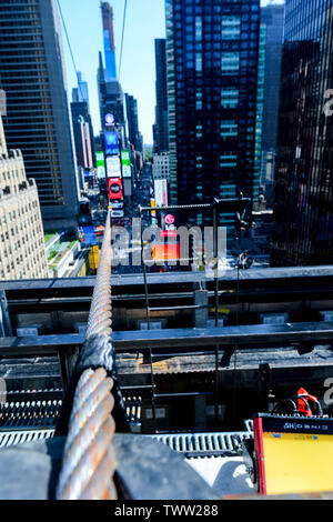 New York, USA. 22nd June, 2019. A close up look at the high wire Nik and Lijana Wallenda will walk across tonight, live on ABC at 8pm. Credit: Tim Boyles/Alamy Live News - Stock Photo