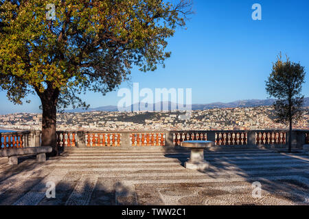 France, city of Nice from above, cobbled terrace hilltop viewpoint at French Riviera. - Stock Photo