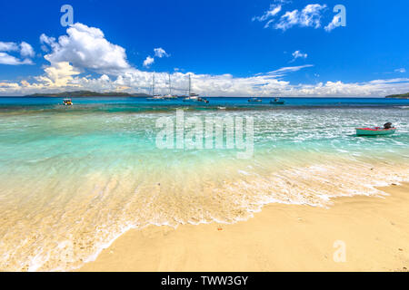 Felicite Island, Seychelles, Indian Ocean. Tropical sea background. Landscape of Seychelles beach close to La Digue. Paradise for snorkeling - Stock Photo