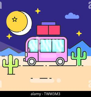 Bus travel the world vector illustration for your needs - Stock Photo