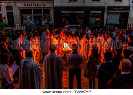 Easter celebration, St. Pierre du Gros Caillou parish church on Rue St. Dominique, Paris, France. - Stock Photo