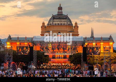 Croatia, Zagreb, June 21, Public open-door concert of classical music In front of Art pavilion in Zagreb capital of Croatia - Stock Photo