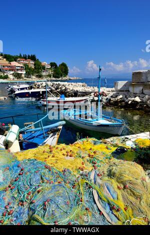 Fishing nets, ropes and floats,Kassiopi bay,Kassopaia,Ionian Islands, Corfu ,Greece - Stock Photo