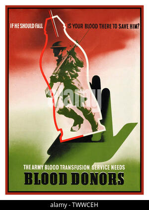 "Vintage 1940's WW2 Propaganda Appeals Poster asking for blood donors ""If he should fall is your blood there to save him?'  Picture of a British soldier going into battle. - Stock Photo"