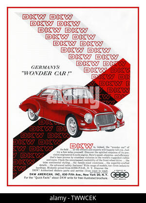 1950's Germany Car Production Post War DKW Auto Union 'Germany's Wonder Car' Page Advertisement in duotone colour for American public magazine publishing New York USA - Stock Photo