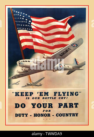 """Vintage American WW2 Propaganda Poster """" Keep 'Em Flying Is Our Battle Cry""""  a 1942 World War II patriotic American propaganda poster by artist team, Dan Smith and Albro Downe. The poster features a color image of the B-17 Flying Fortress by Boeing set in front of a large waving American flag. 'Duty, Honor, Country' as an appeal to the American public to support the war effort. The United States Army Air Corps (USAAC) was the military aviation arm of the US Army between 1926 and 1941. During World War II the Corps became the United States Army Air Forces Second World War World War II - Stock Photo"""