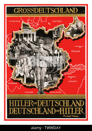 """Adolf Hitler Poster/Card Map Germany Vintage 1940's Nazi Propaganda GROSSDEUTSCHLAND Poster/Postcard featuring Adolf Hitler saluting wearing military uniform with Swastika armband surrounded by images of military parades and might and adoring crowds 'All of Germany' """" Hitler is Germany Germany is Hitler.. (Rudolf Hess quote) World War II WW2 Second World War - Stock Photo"""