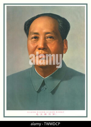 Chairman Mao Chinese Propaganda poster published in 1969 featuring an official portrait of Mao Zedong, Great Mentor, Great Leader, Great Commander, Great Statesman.  China, 1967,  Mao Zedong (December 26, 1893 – September 9, 1976), also known as Chairman Mao, was a Chinese communist revolutionary who became the founding father of the People's Republic of China, which he ruled as the Chairman of the Communist Party of China from its establishment in 1949 until his death in 1976. His theories, military strategies, and political policies are collectively known as Maoism. - Stock Photo
