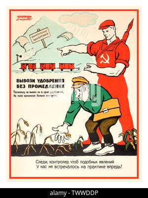 Vintage 1960's Soviet Russian USSR agriculture propaganda poster showing a distressed man looking at a dying crop of wheat with a Soviet worker wearing red overalls featuring the hammer and sickle on the front, points towards train wagons standing in front of mineral fertiliser in the background, the text warning against late delivery of fertiliser that affects crops and farms. Russia. 1963. Designer: V. Govorkov . - Stock Photo