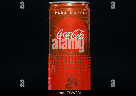 Coca Cola Plus Coffee can. 330 ml can with water droplets on black background of new soft drink without sugar but with more caffeine than Coke Classic - Stock Photo