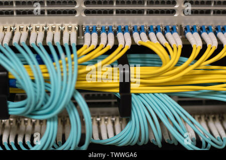 Data transfer by optical fibre information technology - Stock Photo