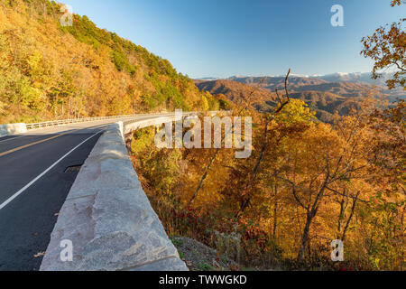 Gorgeous autumn day along the Foothills Parkway in Wears Valley in the Great Smoky Mountain National Park. - Stock Photo