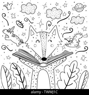 Magic in the books coloring page with cute wolf. Black and white background for adults and children. Vector illustration - Stock Photo