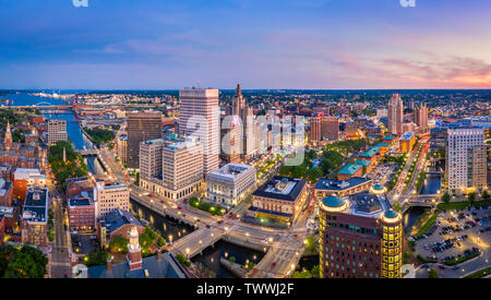 Aerial panorama of Providence skyline at dusk. Providence is the capital city of the U.S. state of Rhode Island. Founded in 1636 is one of the oldest - Stock Photo