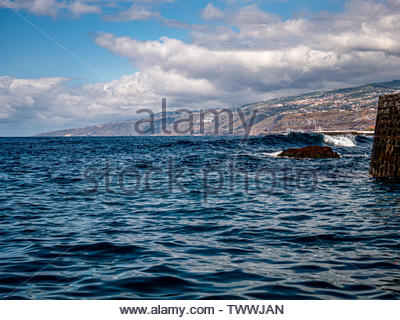 Waves and wide view over the coast of Tenerife - Stock Photo