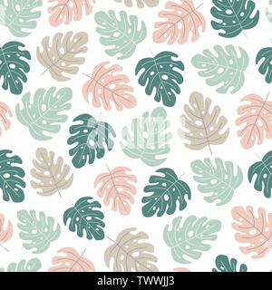 Tropical leaves seamless pattern. Monstera leaves in tender colors background. Vector illustration - Stock Photo