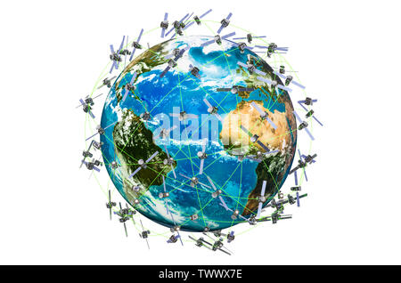 Space satellites around the Earth Globe, 3D rendering isolated on white background - Stock Photo