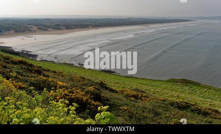 Saunton Sands and Braunton Burrows Sand Dunes, viewed from Croyde Road, West Devon, UK - Stock Photo