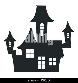Black halloween castle - silhouette vector illustration isolated - Stock Photo