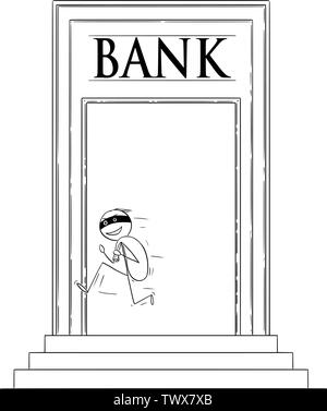 Vector cartoon stick figure drawing conceptual illustration of robber or man in mask running away from bank building with stolen bag of dollars or cash money. - Stock Photo