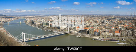 BUDAPEST, HUNGARY - MARCH 2018: Panoramic view of the River Danube and the Elisabeth Bridge in Budapest with the city in the background. - Stock Photo