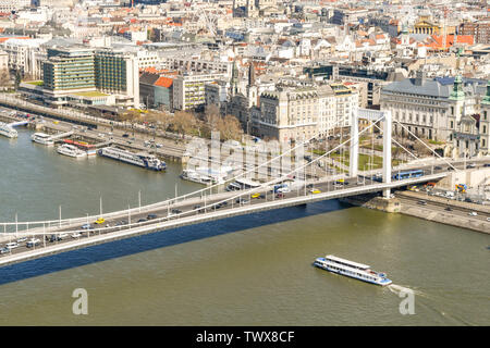 BUDAPEST, HUNGARY - MARCH 2018: Aerial view of the River Danube and traffic crossing the Elisabeth Bridge in Budapest. - Stock Photo