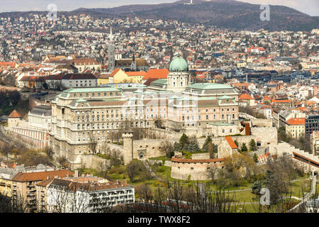 BUDAPEST, HUNGARY - MARCH 2018: Aerial view of Buda Castle, which sits on a hill above the city of Budapest - Stock Photo