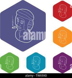 Rastafarian man wearing headband and smoking icons vector hexahedron - Stock Photo