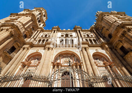 Detail of the facade of Malaga Cathedral, Malaga, Andalusia, Spain .  - Stock Photo