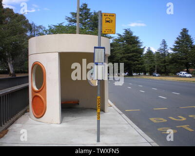 'English: An ACTION bus stop in Canberra. This bus stop is on Commonwealth Avenue, near Lake Burley Griffin and a short walk away from Old Parliament House. The stop is serviced by buses to Woden Town Centre.Category:Images of Canberra; 28 October 2006 (original upload date); Transferred from en.wikipedia to Commons by Logan using CommonsHelper.; Whats new? at English Wikipedia; ' - Stock Photo