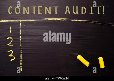 Content Audit! with color chalk. Supported by an additional services. Blackboard concept - Stock Photo