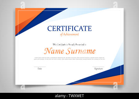 certificate template banner with polygonal geometric shape for print template with orange dark blue and white clean modern - vector illustration - Stock Photo