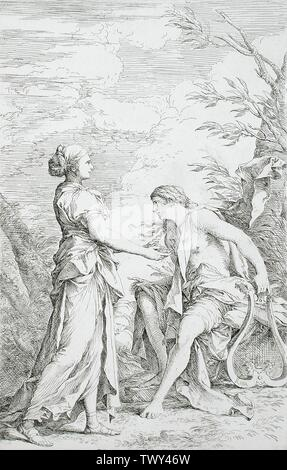 'Apollo and the Cumean Sibyl; English:  Italy, circa 1661 Prints; etchings Etching with drypoint Gift of Mr. and Mrs. Raymond E. Lewis (M.63.69.1) Prints and Drawings; circa 1661 date QS:P571,+1661-00-00T00:00:00Z/9,P1480,Q5727902; ' - Stock Photo
