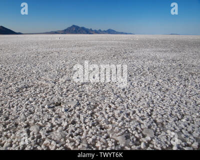 Closeup at ground level, looking out across the vast  Bonneville Salt Flats, with mountains far in the distance, the horizon appears to curve. - Stock Photo