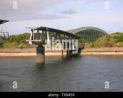 'English: The Big Idea building (now closed) and footbridge at Irvine harbour, North Ayrshire, Scotland.  It is known locally as the bridge to nowhere; 27 August 2007 (original upload date); Own work; Rosser1954 at English Wikipedia; ' - Stock Photo