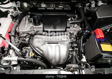close-up of the engine, front view. Internal combustion engine, car parts, deteyling, Soft focus - Stock Photo