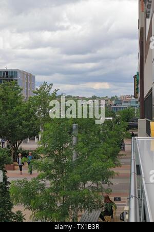 Denver, Colorado - June 22, 2019: Street view of downtown Denver near Union Station - Stock Photo