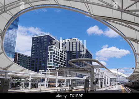 Denver Colorado - June 22, 2019: Renovated Union Station in Downtown Denver, Colorado. - Stock Photo